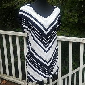 Cable & Gauge Black White Gray Striped Shirt Med